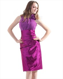 Violet Sheath Jewel Knee-Length Bridesmaid Dress With Flower Detail
