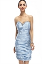 Light Blue Strapless Beaded Neckline Sheath Knee Length Cocktail Dress