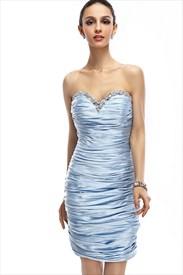 Light Blue Strapless Beaded Neckline Sheath Knee Length Cocktail Dress