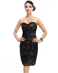 Black Strapless Lace Short Sheath Cocktail Dress With Beaded Trim