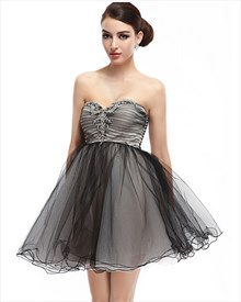 Black Strapless Sweetheart Organza Homecoming Dress With Lace Appliques