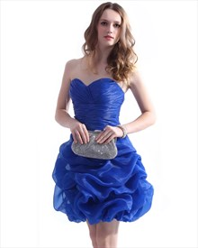Sapphire Blue Strapless Sweetheart Bubble Hem Ruched Cocktail Dress