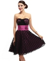 Black Lace Strapless Homecoming Dress With Floral Embellishment