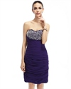 Purple Strapless Sweetheart Embellished Bodice Chiffon Cocktail Dress