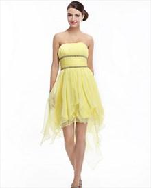 Yellow Strapless Chiffon Beaded Prom Dress With High Low Hemline