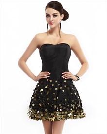 Little Black Strapless Sequin Embellished Dress With Lace Up Back