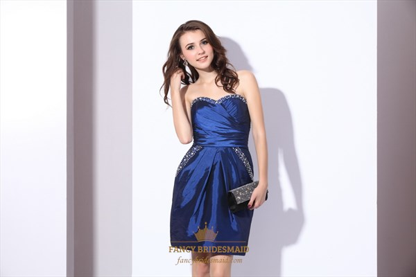 Royal Blue Strapless Taffeta Party Dress With Beaded Embellishment