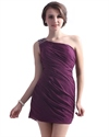 Grape One Shoulder Chiffon Sheath Cocktail Dress With Beaded Detail
