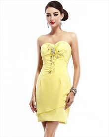 Yellow Strapless Sweetheart Chiffon Beaded Short Dress For Party Or Prom