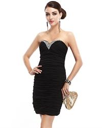 Black Strapless Sheath Cocktail Dress With Beaded Sweetheart Neckline