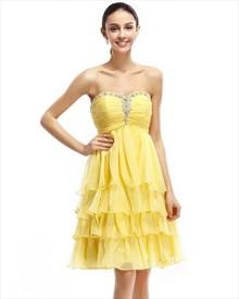 Yellow Beaded Sweetheart Neckline Chiffon Dress With Layered Skirt