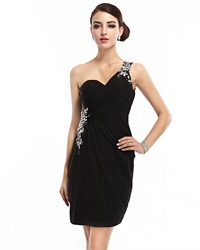 Black One Shoulder Chiffon Open Back Cocktail Dress With Beaded Detail