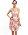 Pink Strapless Draped Taffeta Cocktail Dress With Egg Shaped Skirt