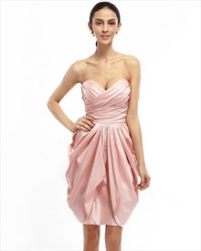 Pink Strapless Draped Taffeta Cocktail Dress With Egg Shaped Skirt