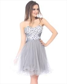 Light Grey Beaded Bodice Strapless Sweetheart Dress With Tulle Skirt