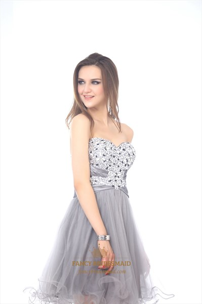 Light Grey Beaded Bodice Strapless Sweetheart Dress With Tulle Skirt