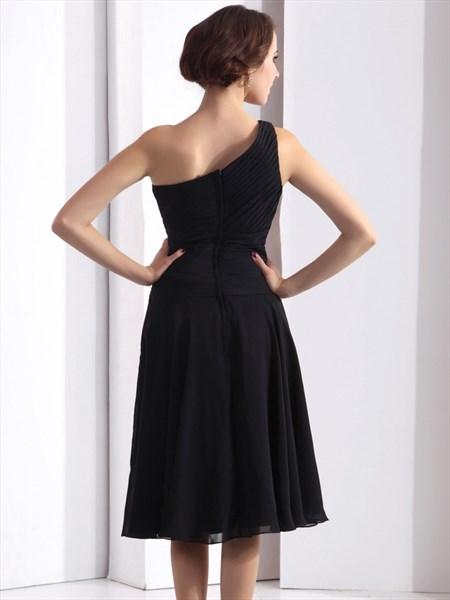 Black A Line Tea Length One Shoulder Dropped Waist Cocktail Dress