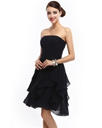 Short Black Strapless Chiffon Bridesmaid Dresses With Front Cascade