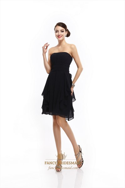 fd187cde94 Short Black Strapless Chiffon Bridesmaid Dresses With Front Cascade ...