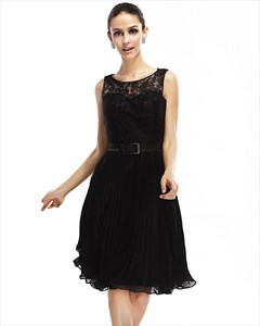 Black Lace Bodice Illusion Neckline Knee Length Cocktail Dress With Belt
