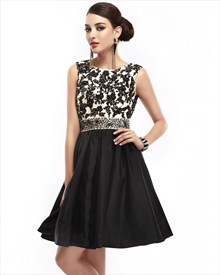 Black Sleeveless Lace Bodice Open Back Prom Dress With Beaded Waistband