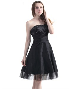 Black Beaded Bodice Strapless Taffeta Cocktail Dress With Tulle Bottom