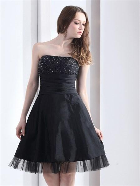Black Beaded Bodice Strapless Taffeta Cocktail Dress With Tulle Bottom