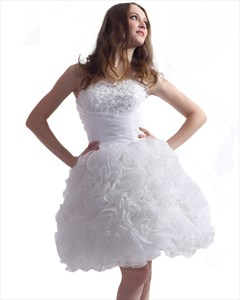 White Strapless Ruffled Organza Ball Gown With Pearl Embellishment