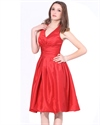 Elegant Red Halter Neckline Knee Length Taffeta Bridesmaid Dress