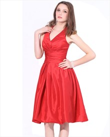 Elegant Red Halter Neckline Knee Length Taffeta Bridesmaid Dress