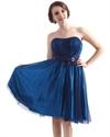Royal Blue Strapless Beaded Waist Detail Short Dress With Tulle Overlay