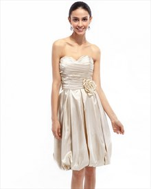 Champagne Strapless Taffeta Ruched Bridesmaid Dress With Bubble Skirt