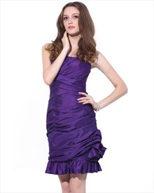 Purple Strapless Short Sheath Taffeta Corsage Dress For Party Or Prom