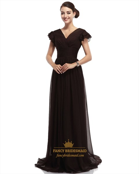 Brown A Line V Neck Long Chiffon Bridesmaid Dresses With Cap Sleeves