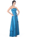 Blue Strapless Long Ruched Front Prom Dresses With Embellishments