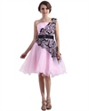 Pink Organza One Shoulder Knee Length Prom Dress With Black Lace