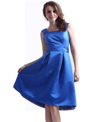 Blue Square Neck Knee Length Sleeveless Cocktail Party Dresses