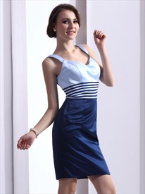 Elegant Blue Striped Short Sheath Cocktail Dress With Straps
