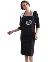 Black Taffeta Tea Length Mother Of The Brides Dress With Jacket