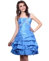 Blue One Shoulder Short Taffeta Dress With Ruching And Bubble Skirt
