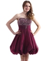 Burgundy Strapless Beaded Top Homecoming Dresses With Organza Underlay