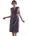 Gray Tea Length V Neck Taffeta Mother Of The Bride Dress With Beading