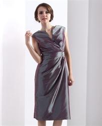 Gray Tea Length V Neck Taffeta Mother Of The Bride Dress With Beading