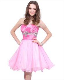 Pink Short Strapless Organza And Satin Blend Dress With Beaded Waist