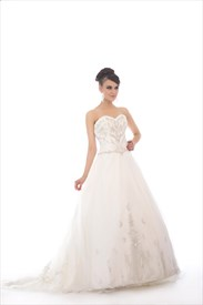Ivory Sweetheart Strapless Organza Beaded Wedding Dress With Embroidery