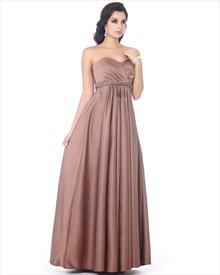 Chocolate Brown Satin Sweetheart Bridesmaid Dress With Empire Waist