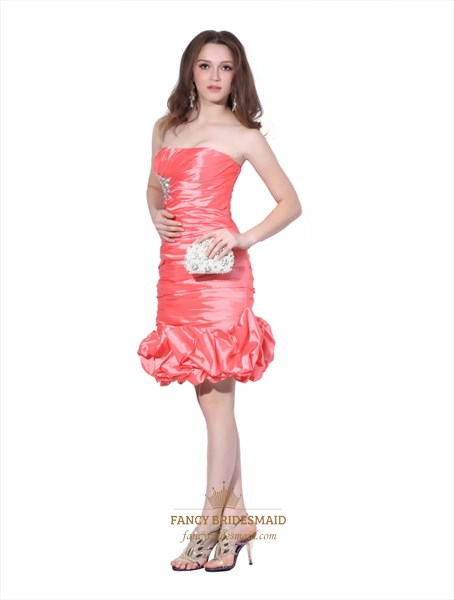 Watermelon Strapless Bubble Skirt Taffeta Gown With Beaded Embellishment