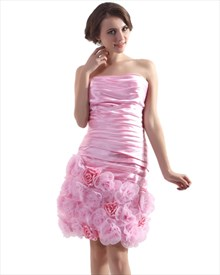 Pink Short Strapless Taffeta Ruched Sheath Cocktail Dress With Rosette