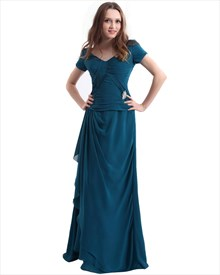 Teal Chiffon Ruched Bodice V Neck Mother Of The Bride Dress With Ruffles