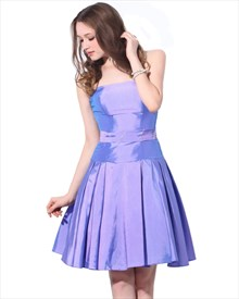 Lavender Strapless Taffeta Bridesmaid Dress With Beaded Waist Detail